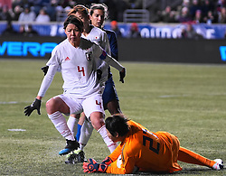 February 28, 2019 - Chester, United States - Erina Yamane of Japan makes a save .during the She Believes Cup football match between The United States and Japan at Talen Energy Stadium on February 27, 2019 in Chester, Pennsylvania, United States. (Credit Image: © Action Foto Sport/NurPhoto via ZUMA Press)
