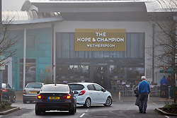 © Licensed to London News Pictures.  21/01/2014. BEACONSFIELD, UK. General view of the new Hope & Champion pub, operated by Wetherspoons, in the Beaconsfield service station next to the M40. The pub is the first in the country located in a motorway service station and opens despite road safety organisations raising significant concerns. Photo credit: Cliff Hide/LNP