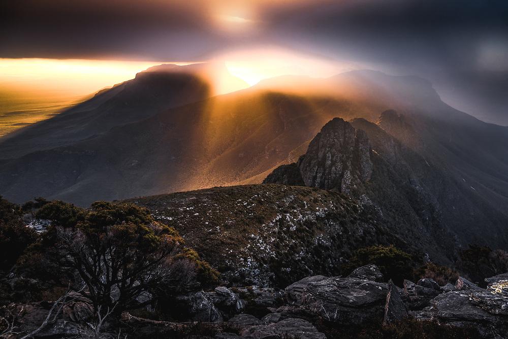Sunset from Pyungoorup Peak. Stirling Range, Western Australia