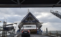 THEMENBILD - die Fahre Prins Richard verkehrt mehrmals taeglich vom Rodby in Daenemark nach Puttgarden in Deutschland, im Bild Auffahrt auf die Faehre mit dem Auto, aufgenommen am 02. Maerz 2015 in Rodby Daenemark // the Prins Richard ferry runs several times daily from Rodby in Denmark to Puttgarden in Germany, Rody, Denmark on 2015/03/02. EXPA Pictures © 2015, PhotoCredit: EXPA/ JFK