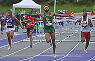 Deshaun Jones of Baylor reacts after winning the 110 meter hurdles during the Big 12 Outdoor Track & Field Championship at R.V. Christian Track & Field Complex in Manhattan, Kansas.