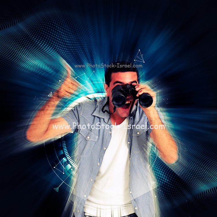 Digitally enhanced image of an excited young man in his early 20s looking through a binoculars gives the thumb up sign