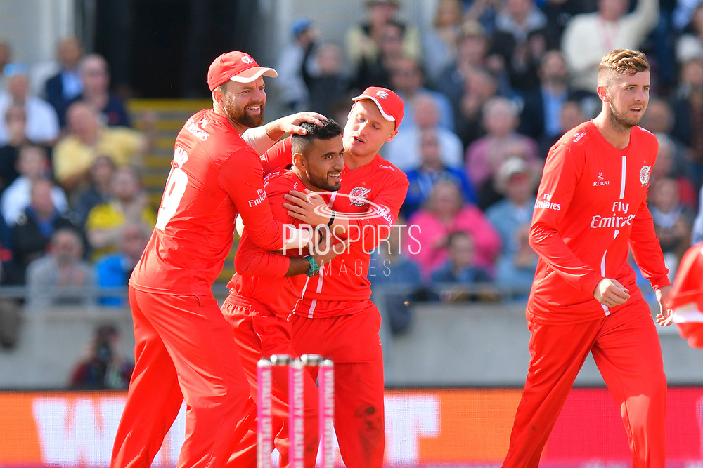 Wicket - Zahir Khan of Lancashire celebrates taking the wicket of Moeen Ali of Worcestershire during the Vitality T20 Finals Day Semi Final 2018 match between Worcestershire Rapids and Lancashire Lightning at Edgbaston, Birmingham, United Kingdom on 15 September 2018.