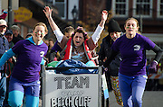 Racers in the annual Bed Races, Bar Harbor, Maine