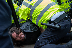 © Licensed to London News Pictures. 20/03/2021. London, UK. A man is held down whilst being detained at Speakers Corner during the anti-lockdown demonstration 'Worldwide Rally For Freedom' held in central London. Photo credit: Peter Manning/LNP