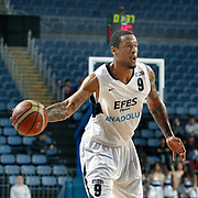 Efes Pilsen's Lawrence ROBERTS during their Turkish Basketball league match Efes Pilsen between Banvit at the Sinan Erdem Arena in Istanbul Turkey on Saturday 02 April 2011. Photo by TURKPIX