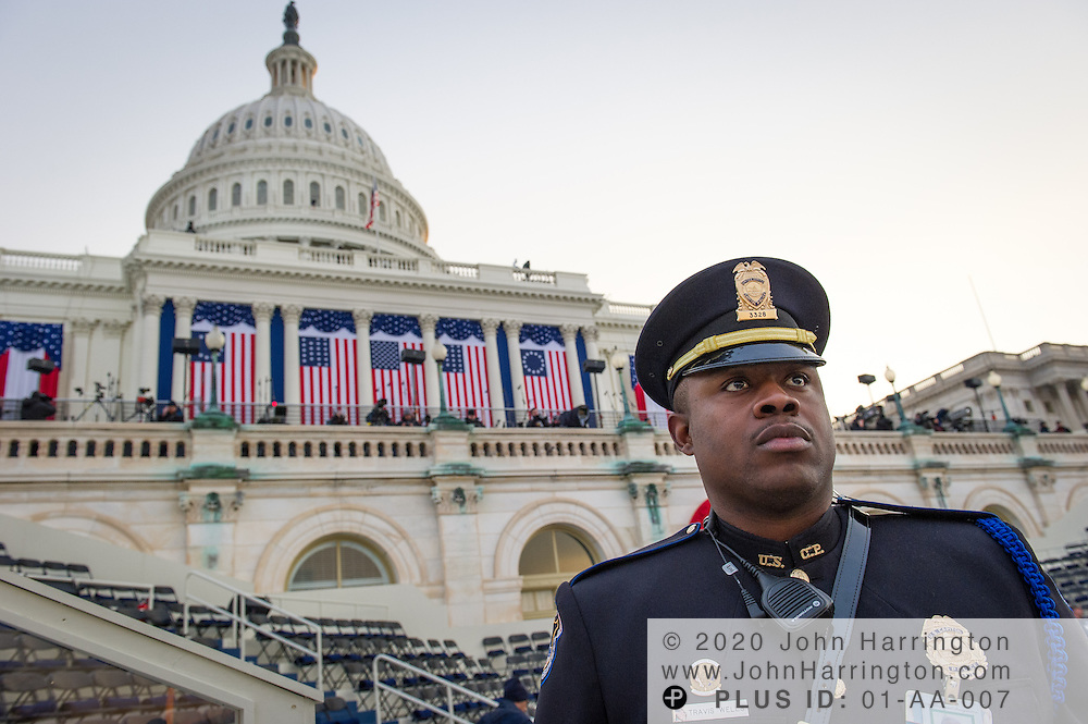 US Capitol Police Officer Travis Wells at the 57th Presidential Inauguration of President Barack Obama at the U.S. Capitol Building in Washington, DC January 21, 2013.