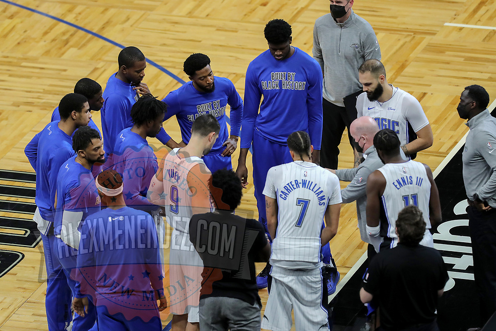 ORLANDO, FL - FEBRUARY 23:  The Orlando Magic huddle up against the Detroit Pistons at Amway Center on February 23, 2021 in Orlando, Florida. NOTE TO USER: User expressly acknowledges and agrees that, by downloading and or using this photograph, User is consenting to the terms and conditions of the Getty Images License Agreement. (Photo by Alex Menendez/Getty Images)*** Local Caption ***