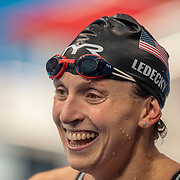 TOKYO, JAPAN - JULY 31:  Katie Ledecky of the United States reacts after winning the gold medal in the 800m Freestyle for women during the Swimming Finals at the Tokyo Aquatic Centre at the Tokyo 2020 Summer Olympic Games on July 31, 2021 in Tokyo, Japan. (Photo by Tim Clayton/Corbis via Getty Images)