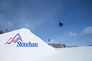 Billy Morgan during the FIS Jamboree snowboard Slopestyle qualifiers on 10th February 2017 in Stoneham Mountain, Canada. The Canadian Jamboree is part of the ski and snowboard FIS World Cup circuit held in Quebec City and Stoneham Mountain.