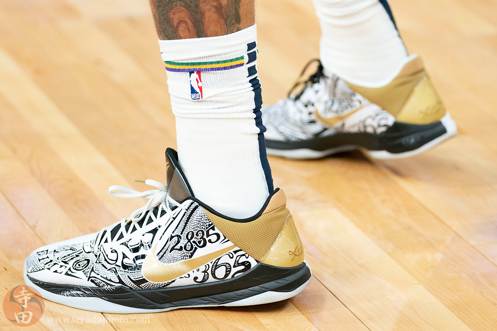 February 23, 2020; San Francisco, California, USA; Detail view of the Nike shoes worn by New Orleans Pelicans center Jahlil Okafor (9) before the game against the Golden State Warriors at Chase Center.