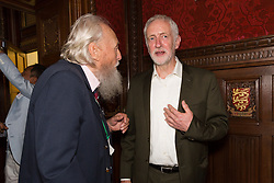 © Licensed to London News Pictures. 18/07/2017. LONDON, UK.  JEREMY CORBYN and GEORGE MONTAGUE, the oldest living British man to have been imprisoned for his homosexuality speaking at a Pink News parliamentary reception to celebrate the 50th anniversary of decriminalisation on homosexuality, held at Speaker's House in the Palace of Westminster in London.  Photo credit: Vickie Flores/LNP