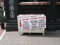Newspaper headlines on street Dublin Ireland