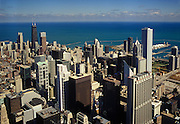 Image of the Chicago, Illinois skyline and Lake Michigan from Willis Tower, American Midwest by Randy Wells