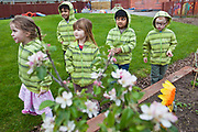 Children dressed in green stripes, working and playing in the nursery school garden. University Hospital of South Manchester (UHSM) has a creche on site looking after 80 of their staff's children. A strong sense of community has been integral to the development of the hospital, and due respect from their staff has helped them achieve their goals. Manchester, United Kingdom.