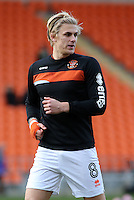 Blackpool's Brad Potts during the pre-match warm-up <br /> <br /> Photographer David Shipman/CameraSport<br /> <br /> The EFL Sky Bet League Two - Blackpool v Luton Town - Saturday 17th December 2016 - Bloomfield Road - Blackpool<br /> <br /> World Copyright © 2016 CameraSport. All rights reserved. 43 Linden Ave. Countesthorpe. Leicester. England. LE8 5PG - Tel: +44 (0) 116 277 4147 - admin@camerasport.com - www.camerasport.com