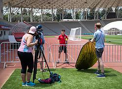 BAKU, AZERBAIJAN - Thursday, June 10, 2021: Wales' Daniel James is interviewed during a media session at the Tofiq Bahramov Republican Stadium on day three of their UEFA Euro 2020 tournament. (Pic by David Rawcliffe/Propaganda)
