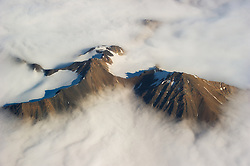 Aerial photo of mountains in clouds, Spitsbergen, Svalbard