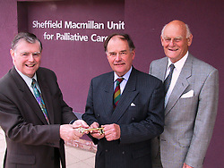 Official Hand Over of the new Sheffield Macmillan Unit for Palliative Care at the Northern General Hospital on Tuesday (9/4/2) Morning. Left to right are MD of Baggaley Construction Chris Coolison Chairman Howard Baggaley, David Stone Chairman of the The Sheffield Teaching Hospitals Trust, Sir Michael Carlisle Chairman of the Macmillan Horizons Appeal and Heather Drabble Sheffield Teaching Hospitals Trust Chief Nurse.