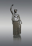 Roman Bronze sculpture of a Dancing Women from the square peristyle of the Villa of the Papyri in Herculaneum, Museum of Archaeology, Italy.<br /> <br /> If you prefer to buy from our ALAMY STOCK LIBRARY page at https://www.alamy.com/portfolio/paul-williams-funkystock/greco-roman-sculptures.html . Type -    Naples    - into LOWER SEARCH WITHIN GALLERY box - Refine search by adding a subject, place, background colour, etc.<br /> <br /> Visit our ROMAN WORLD PHOTO COLLECTIONS for more photos to download or buy as wall art prints https://funkystock.photoshelter.com/gallery-collection/The-Romans-Art-Artefacts-Antiquities-Historic-Sites-Pictures-Images/C0000r2uLJJo9_s0
