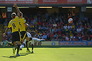 Bafetimbi Gomis of Swansea City takes a volley shot for goal. Barclays Premier League, Watford v Swansea city at Vicarage Road in London on Saturday 12th September 2015.<br /> pic by John Patrick Fletcher, Andrew Orchard sports photography.