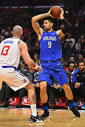 January 6, 2019 - Los Angeles, CA, U.S. - LOS ANGELES, CA - JANUARY 06: Orlando Magic Center Nikola Vucevic (9) looks to make a pass during a NBA game between the Orlando Magic and the Los Angeles Clippers on January 6, 2019 at STAPLES Center in Los Angeles, CA. (Photo by Brian Rothmuller/Icon Sportswire) (Credit Image: © Brian Rothmuller/Icon SMI via ZUMA Press)