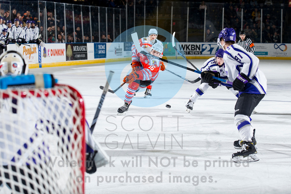 Youngstown Phantoms win 5-3 against the Tri-City Storm at the Covelli Centre on January 18, 2020.<br /> <br /> Trevor Kuntar, forward, 16