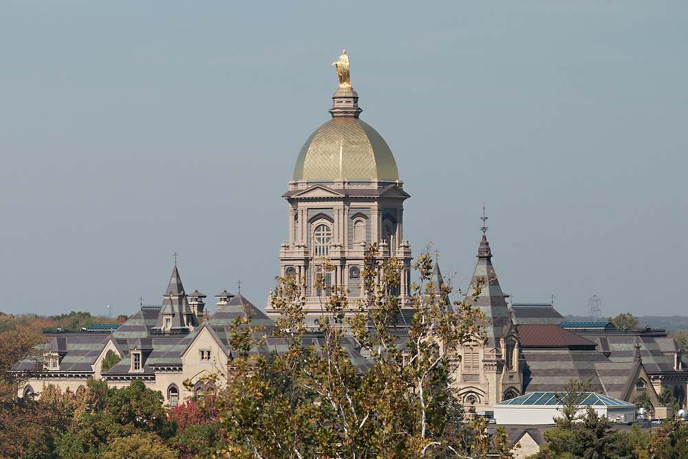 A view of the Administration Building with the Golden Dome during NCAA football game between Notre Dame and Air Force.  The Notre Dame Fighting Irish defeated the Air Force Falcons 59-33 in game at Notre Dame Stadium in South Bend, Indiana.