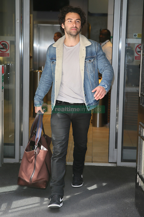 Aidan Turner leaving BBC Radio Two Studios after promoting the new series of Poldark and his new West End play - London<br /><br />15 June 2018.<br /><br />Please byline: Vantagenews.com
