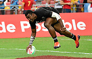 New Zealand's Jona Nareki scores a try during the HSBC Singapore Rugby Sevens 5th Place Play-off - Samoa v New Zealand won by Samoa 19-17 at The National Stadium, Singapore, Sunday, April 14th, 2019. (Steve Flynn/Image of Sport)