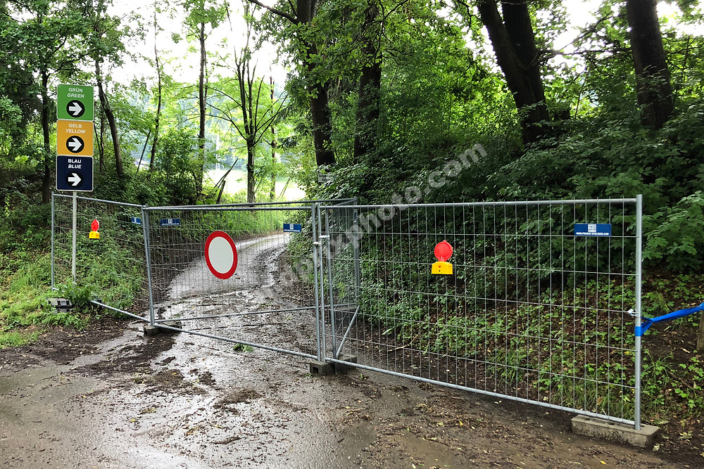 Closed off entrance before the 2020 Austrian Grand Prix at the Red Bull Ring in Spielberg. Photo: Grand Prix Photo