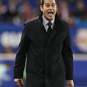 Coach Mike Petke, New York Red Bulls, on the sideline during the New York Red Bulls V Sporting Kansas City, Major League Soccer Play Off Match at Red Bull Arena, Harrison, New Jersey. USA. 30th October 2014. Photo Tim Clayton