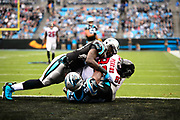 December 24, 2016: Carolina Panthers vs Atlanta Falcons. Thomas Davis and Bradberry, James tackle Atlanta Falcon Perkins
