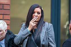 © Licensed to London News Pictures. 21/10/2019. Leeds UK. Kelly Meadows arrives at Leeds Crown Court this morning. 5 members of Leeds based paedophile hunting group Predator Exposure are appearing at Leeds Crown Court today. Phillip Hoban, Jordan McDonald, Jordan Plain, Dean Walls and Kelly Meadows are all accused of false imprisonment of a man in Chapel Allerton, Leeds. Hoban, 44, McDonald, 18, Plain, 25, and Walls, 51, also denied assaulting same man on same date, Hoban, Meadows,39, and McDonald denied further charge of false imprisonment of another man in Ackton, near Pontefract.Photo credit: Andrew McCaren/LNP