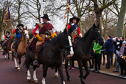 London, January 25th 2015. Every year on the last Sunday in January history enthusiatsts re-enact the King's Army parade along the route walked by King Charles I on the morning of 30th January 1649, from St James Palace to the Banqueting House in Whitehall, where  he was executed. To avoid closing Whitehall to traffic, the parade now ends on Horse Guards Parade.