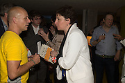 STEVE HILTON; JULIA HOBSBAWM, Launch of ' More Human',  Designing a World Where People Come First' by Steve Hilton. Party held at Second Home in Princelet St, off Brick Lane, London. 19 May 2015.