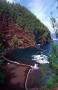 Red sand beach, Hana, Maui, Hawaii<br />