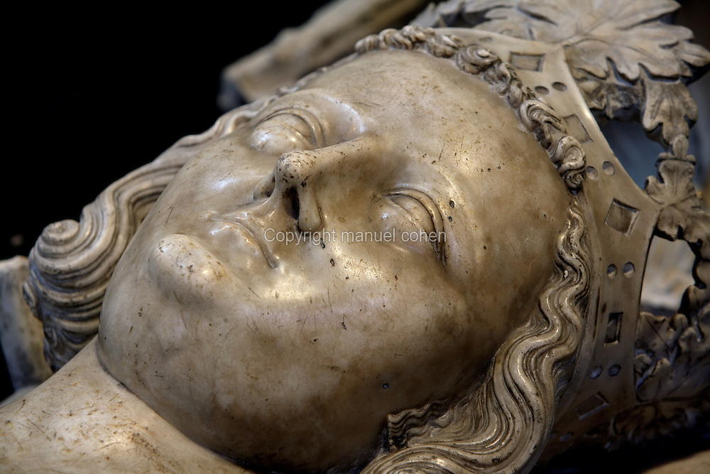 Gisant of Louis X, called the Quarreller, the Headstrong or the Stubborn (1289 - 1316), marble, circa 1327, Abbey church of Saint Denis, Seine Saint Denis, France. Picture by Manuel Cohen