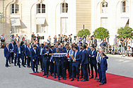 Noel Le Graet, Hugo Lloris, Didier Descahmps, Emmanuel Macron, Brigitte Macron and players during the reception of the French team at Elysée after winning the 2018 FIFA World Cup Russia on July 16, 2018 in Paris, France - Photo Stephane Allaman / ProSportsImages / DPPI