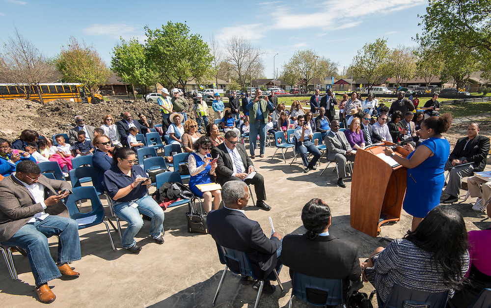 Kristy Love comments during a groundbreaking ceremony at Codwell Elementary School, March 3, 2017.