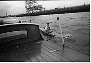 08/03/1964<br /> 03/08/1964<br /> 08 March 1964<br /> Views at the port of Dublin. View of canoeing on the Liffey.
