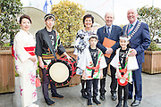 27/1/16 Minister Shane Ross with Maureen Ledwith, director Holiday World, Cormac Meehan, President ITAA and Taiko Drum Troupe members at the Holiday World Show 2017 at the RDS Simmonscourt in Dublin which runs to Sunday 29th January.. Picture: Arthur Carron