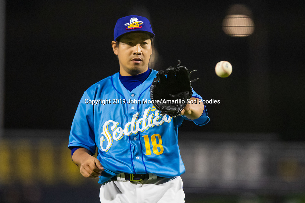 Amarillo Sod Poodles pitcher Kazuhisa Makita (18) catches a throw against the Midland RockHounds on Friday, May 24, 2019, at HODGETOWN in Amarillo, Texas. [Photo by John Moore/Amarillo Sod Poodles]