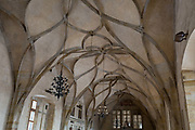 The vaulted ceiling of Vladislav Hall in Hradcany-Prazsky Hrad Prague Castle, on 18th March, 2018, in Prague, the Czech Republic. Vladislav Hall is a large room within the Prague Castle complex in the Czech Republic, used for large public events of the Bohemian monarchy and the modern Czech state. Built between 1493–1502 by Benedikt Rejt during the reign of Vladislav II, the hall was the largest secular space 62m x 16m x 13m in medieval Prague and belongs to the most complex structural and architectural spaces of the late Middle Ages.