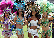 Brazilian dancers during the afternoon parade at the 2005 Rugby World Cup Sevens, Hong Kong, Sunday 20 March 2005. Fiji defeated New Zealand 24-19 to win the Melrose Cup and the 2005 Sevens Rugby World Cup. PHOTO: Andrew Cornaga/PHOTOSPORT