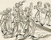 'Dancers condemned to dance all year without stopping for dancing on Christmas night. Woodcut from ''Liber chronicarum mundi'' Nuremberg, 1493.'