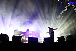©under licence to London News Pictures. 31 OCtober 2010, Pendulum perfrom a DJ set at the Relentless Freeze Festival 2010, Battersea Power Station, London. Held annually since 2008, Freeze features the world's best snowboarders and skiers  competing on a 32m high, 100m long, real snow ramp. 31 October 2010