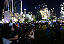 September 23, 2016 - Charlotte, NC, USA - Protesters gather in Romare Bearden Park in Charlotte, N.C., on Friday, Sept. 23, 2016, as demonstrations continue following the shooting death of Keith Scott by police earlier in the week. (Credit Image: © Jeff Siner/TNS via ZUMA Wire)
