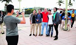"""November 3, 2018 - (03/11/2018) Un grupo de alumnos de varios colegios llegaron a protestar a la Corte Suprema de Justicia, en San José, pidiendo la cancelación de las pruebas de Bachillerato. El afiliado de APSE y excandidato presidencial Jhonn Vega (de rojo) acompañó a los estudiantes. PROHIBIDO EL USO O REPRODUCCIÃ""""N EN COSTA RICA. (Credit Image: © Jeffrey Zamora R/La Nacion via ZUMA Press)"""