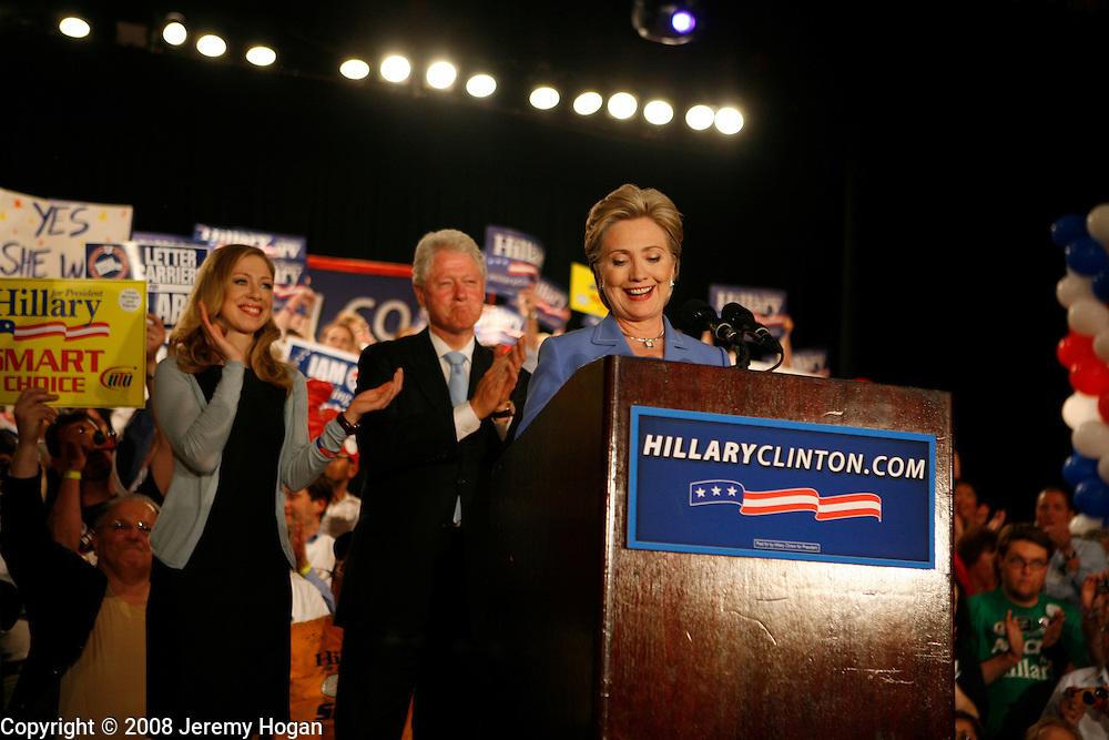 Hillary Clinton celebrates winning the Indiana primary.